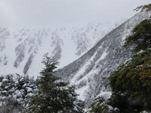 奥穂から西穂への稜線は雪で真っ白