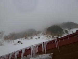 岳沢小屋から見上げるコブ尾根