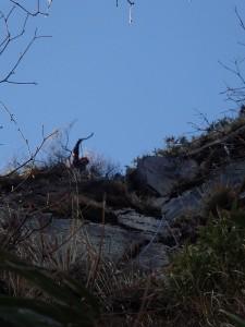 頂上直下の最後の岩壁
