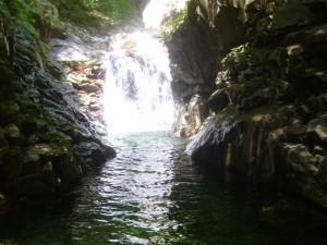 深い淵と光る滝。美しいです。泳いでシャワークライミング